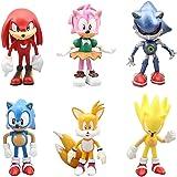 Decoración De Pastel De Sonic,6Pcs Sonic Mini Juego De Figuras,Sonic Cake Topper Pastel,Mini Muñeca Hecha a Mano Shower Fiest