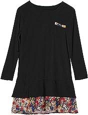 Bold N Elegant Women's Full Sleeve Long Printed Patchwork Colorblock Tunic Tops Dress Pregnancy Clothes Maternity T-Shirt Tee Vestidos
