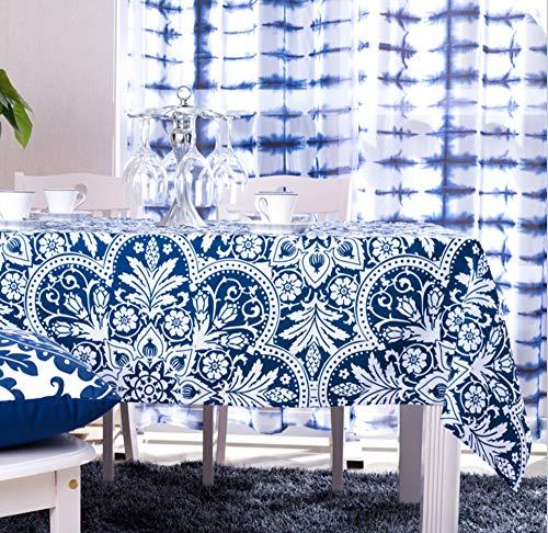 WJYdp Tischtuch Rechteck Blaue Tischdecke Im Mediterranen Stil Home Hotel Tischdecke,140X140CM(55X55in) - Rechteck Blau Tischdecke
