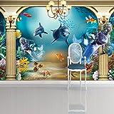 Vlies Fototapeten - Wandtapeten Aquarium Delfin Wasser KN-1069 (XS 150x105 cm 3-Bahnen)