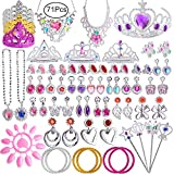 Defrsk 71 Pcs Princess Pretend Jewelry Toy Girls Dress Up Accessori di gioielli Set Princess Jewelry Gioca con Princess Tiara, Necklace, Earrings, Rings, Wand, Bracciali per Birthday Party Favor