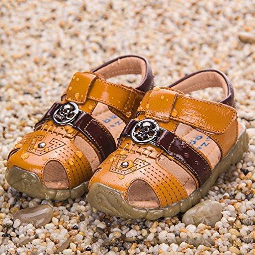 CHENGYANG Sandales Bout Fermé Semelles Souples - Confort Chaussures Bébé Marche Bébé Garçon Jaune Marron