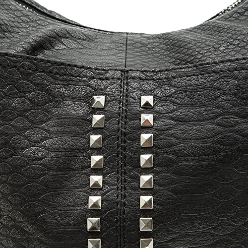 8655bb5232f87 ... Jennifer Jones 3446 Handtasche Damen Shopper Damentasche Henkeltasche  Schultertasche Tasche Nieten Grau ...