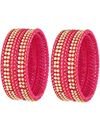 NMII 9 Color Fashionable Silk Thread Glass Bangle Set Studded With Button Zircon For Women & Girls On Wedding...