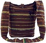 Guru-Shop Sadhu Bag Gestreift, Goa Tasche, Schulterbeutel - Braun, Herren/Damen, Baumwolle, Size:One Size, 35x35x25 cm, Bunter Stoffbeutel