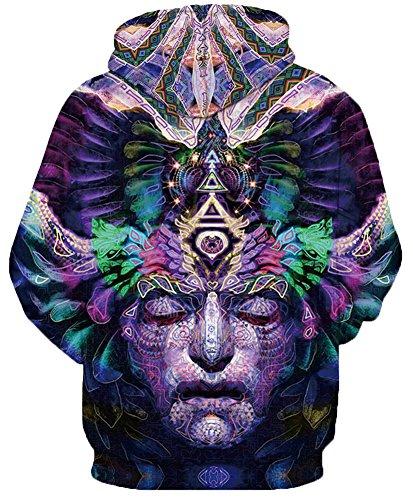 TDOLAH Nouvelle Pull de Haute Qualité Femme avec Manches Longes Sweat-shirts à Capuche Masque Multicolore-2