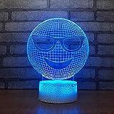 Bbdeng Lámpara LED de luz nocturna 3D Luz de Ambiente Lámparas Niños LEDInterruptor táctil Tonificacion Bebé dormido luz Creativo Color brillante Cara Sonriente De Ruibarbo