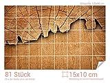 Graz Design 761675_15x10_90 Fliesenaufkleber Baum/Holz-Optik für Kacheln   Wand-Deko für Bad/Küchen-Fliesen (Fliesenmaß: 15x10cm (BxH)//Bild: 135x90cm (BxH))