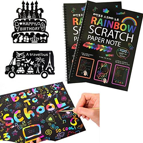MengTing 20 Fogli di Disegni Scratch Art,Rainbow Scratch Art Notebooks, Scratch Art Pittura Scratch Boards- Best Rainbow Magic Paper Craft per Bambini,con Stilo in Legno e stencil