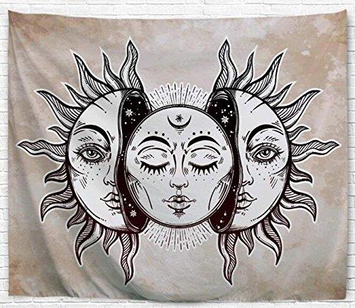 klolkutta Psychedelic-Set mit Sonne und Mond Gobelin-Wandteppich zum aufhängen Celestial Hippy Tagesdecke Indian bedsheet-Wandteppich, Mandala-Wandteppich gebatikt Bohemian Gobelin -, Polyester, Sun Face, 60 W x 80 L Inches