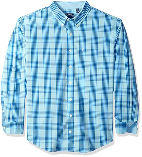 IZOD Men's Big and Tall Saltwater Chambray Plaid Short Sleeve Button Down Shirt