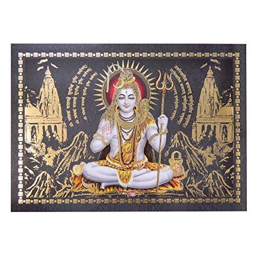Bild Shiva 24 x 33 cm Gottheit Hinduismus Kunstdruck Plakat Poster Gold Indien Hochglanz Dekoration (Shiva-bild)
