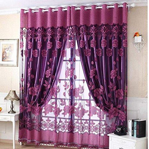 Fenster-Türvorhang aus Schleierstoff in floraler Printoptik, 250 x 100 cm, mit Raumtrenner Vorhang. violett