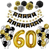 Geburtstag Dekorationen 60., Birthday Party Supplies Sets Alles Gute Zum Geburtstag Banner Bunting Seidenpapier Pom Poms, hängenden Swirl Decor und Ballon Kit (60th)