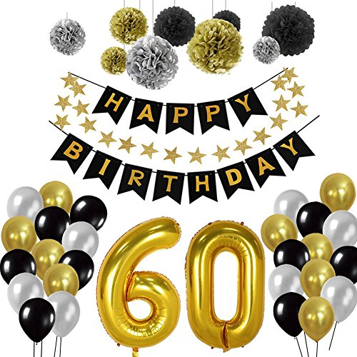 Geburtstag Dekorationen 60., Birthday Party Supplies Sets Alles Gute Zum Geburtstag Banner Bunting Seidenpapier Pom Poms, hängenden Swirl Decor und Ballon Kit (60th) - Geburtstag Kit Party 30. Supplies