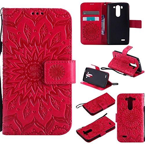 JDDRCASE Handy Zubehör Hüllen, LG G3 Mini Fall, Sun Flower Druck Design PU Leder Flip Wallet Lanyard Schutzhülle mit Card Slot/Stand für LG G3 Vigor / G3 Mini / G3 Beat / G3s D725 D722 (Farbe : Rot) - 3 Lg Vigor Fall