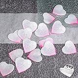 100x Rosenblüten Herz 4cm EinsSein® weiß-rosa Dekoration Blüten Blumen Hochzeit Streudeko Konfetti