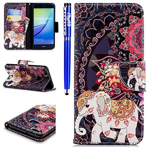 EUWLY Lederhülle Huawei P10 Lite Ledertasche Handytasche Tasche Wallet Hülle im Bookstyle Handyhülle Bunte PU Leder Flip Tasche Case Brieftasche Schutzhülle Kartenfächer,Mandala Elefant