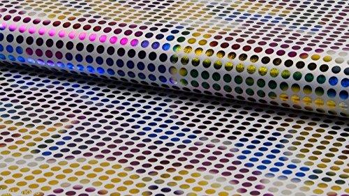 Karneval Rainbow Stoff-Metallic Polka Dot Print Material-150cm breit-Weiß (Meterware) - Foil Print Leggings