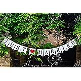 """Musuntas guirnalda del vintage / rústico """"Just Married"""" - como decoración para la boda con letras blancas"""