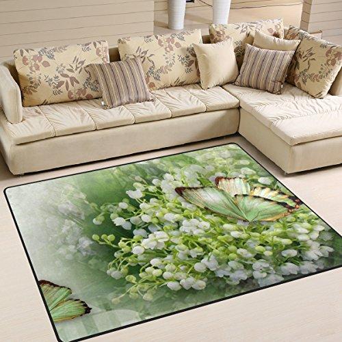 ingbags Super Weich Modern Butterfly Lily Tal Bereich Teppiche Wohnzimmer Teppich Schlafzimmer Teppich für Kinder Play massiv Home Decorator Boden Teppich und Teppiche 160x 121,9cm, multi, 63 x 48 Inch
