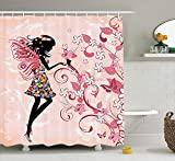 XIAOYI Girls Shower Curtain Fairy Decor, Pink Butterflies and Flowers Beautiful Glamour Girl with Colorful Floral Dress Angel Wings FAE Queen Feminine Nursery Bathroom, Black Baby Pink White