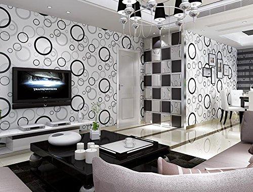 Carta da parati wallpaper Sfondi sfondo TV 3D di carta non tessuta di cerchi parete (Carta Da Parati Nero Bianco Toile Wallpaper)
