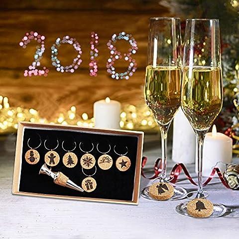 aytai Weihnachten Kork Wein Glas Charms Set 9Cocktail oder Wein Glas Marker + 1Flasche Stopper, Geschenke für Urlaub Xmas Party Dekorationen