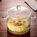 Ciotola in vetro zuppa insalata di verdure microonde calore tuta Addensato con copertura 1500ml, ciotole in ceramica alta borosilicato fornello elettrico stufa riscaldamento istantaneo noodle