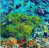 Rureng Underwater World Tropical Fish 3D Floor Tiles Custom Large - Scale Murals PVC Waterproof Thick Floor Paste-150X120Cm