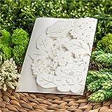 Wishmade elegante motivo floreale, colore: bianco a taglio Laser, inviti da matrimonio Biglietti di invito per feste, eventi CW5177 fidanzamento, 1 pezzo - Wishmade - amazon.it