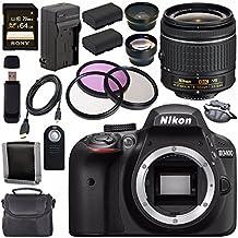 Nikon D3400 DSLR Camera With AF-P 18-55mm VR Lens (Black) + EN-EL14 Replacement Lithium Ion Battery + External Rapid Charger + Sony 64GB SDXC Card + Carrying Case Bundle