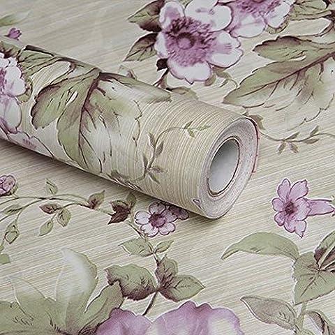 LoveFaye Vintage Purple Peony Self-Adhesive Kitchen Shelf Drawer Liner Moisture Proof PVC Mat 45x300cm Easter Decor