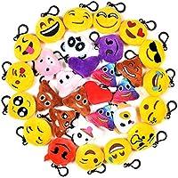 Imanom 30pcs Mini Plush Toys, Emoji Keyring, Emoji Keychain Kit para niños y Adultos favores de la Fiesta de cumpleaños, Party Bag Fillers, Party Supplies Decorations