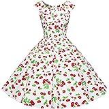 Bbonlinedress Vestidos Mujer De Estilo 1950 Vintage Rockabilly Retro Cóctel Fiesta White Cherry S