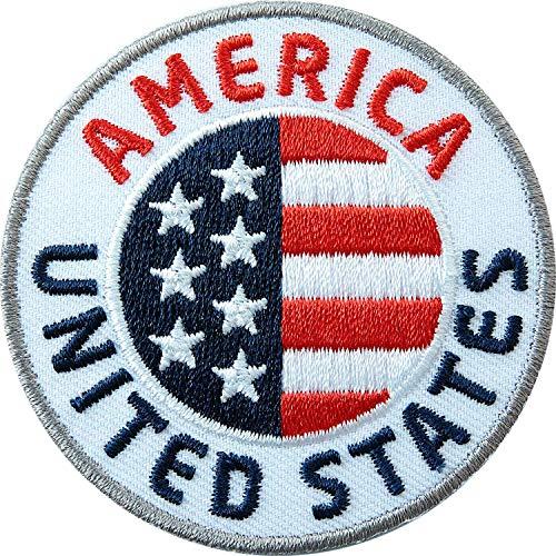 2 x USA Abzeichen gestickt 60 mm / United States, vereinigte Staaten von Amerika / amerikanische Flagge Wappen Reisen / Aufnäher Aufbügler Flicken Sticker Patch / Reiseführer Buch Karte National Park -