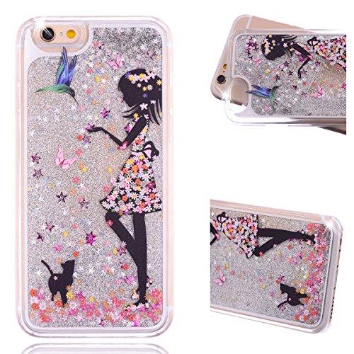 Beiuns Coque en Plastique Circuler liquide pour Apple iPhone4 4G 4S Housse Case - WM542 bonhomme de neige WM524 fille + oiseau
