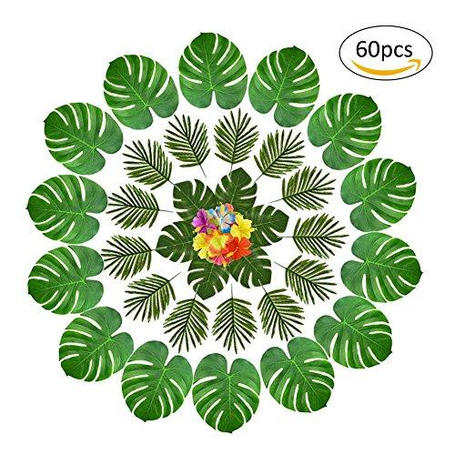 (60 Stück 2 Arten Künstliche Palmen Blätter Faux Palme Blatt Fake Monstera Tropische Blätter Für Dekoration, Grün)