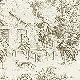 Toile de Jouy Stoff | Antike Bronze | 100% Baumwolle |