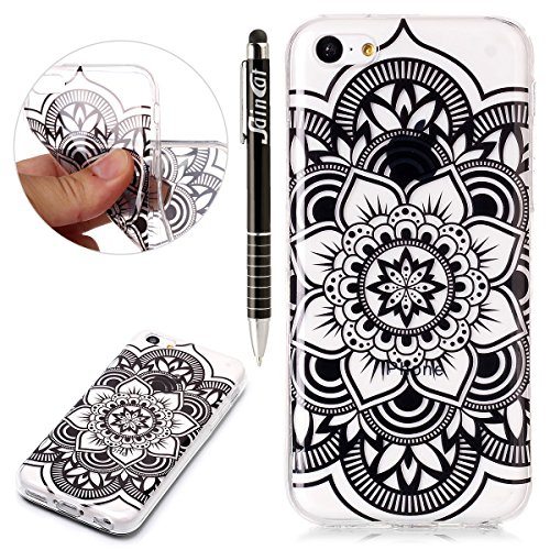 Custodia iPhone 5C, iPhone 5C Cover Silicone Trasparente, SainCat Cover per iPhone 5C Custodia Silicone Morbido, Shock-Absorption Custodia Ultra Slim Transparent Silicone Case Ultra Sottile Morbida Ge Mandala Nera