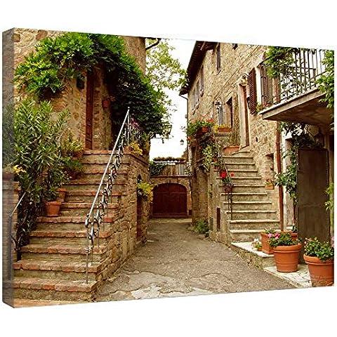 LeeQueen Las Impresiones Sobre Lona Arte de la Pared - Las Escaleras Toscana - Antecedentes Consejo de Madera Estirada Abrigo de la Lona Listo Para Colgar Para el Hogar y la Decoración de la Oficina - 24