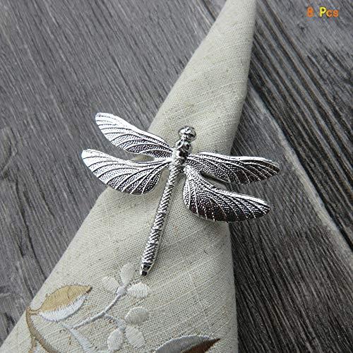 Dragonfly Serviette (OYPA Tier Serviettenringe, Gold/Silber Dragonfly Design Serviettenschnalle, Set mit 8 Stoffmundringen Tischdekoration,Silver)