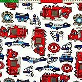 Polizei Feuerwehr 100% Baumwolle Baumwollstoff Kinderstoff
