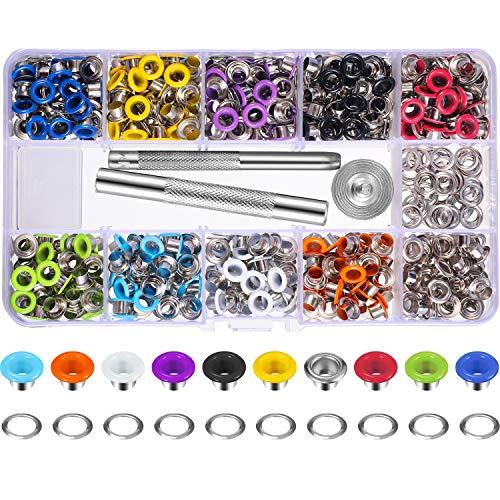 400 Set 3/16 Pollici Multi-Colore Kit Occhielli Metallo Occhielli con Strumenti di Installazione e Istruttore in Scatola Trasparente