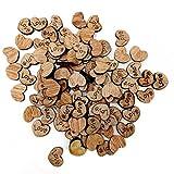 Westeng 100 x Herz Form Knöpfe aus Holz zum Kinder Kleidung Deko DIY Material Nähen Heimwerken und für Sammelalben