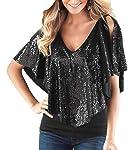 FRPE Women's V-Neck Glitter Sequins Cold Shoulder Shawl Patchwork Tops Shirt Blouse