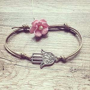Hamsa Hand Armband in Beige Silber Größenverstellbar, Hand der Fatima / beschützende Hand / vintage / ethno / hippie / must have / statement / florabella schmuck