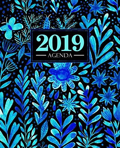 Agenda 2019: 190 x 235 mm : Agenda 2019 semana vista español : 160 g/m²: Bonitas flores azules en acuarela 6774
