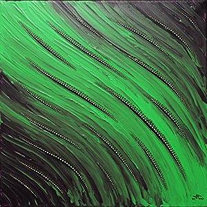 Moderne malerei : Grün fluidität (30 x 30 cm)