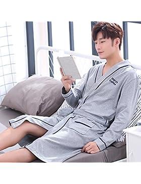 Mangeoo pijamas de algodón para hombre primavera y otoño de longitud media, código grande, albornoz flojo, pijamas...